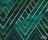 Fotobehang Artdeco | Groen marmereffect met gouden grafisch patroon