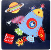 Label Label Friends - Baby Puzzel - 12+ - Raket Friends houten puzzel raket