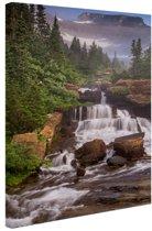 Lunch Creek watervallen Amerika Canvas 20x30 cm - klein - Foto print op Canvas schilderij (Wanddecoratie woonkamer / slaapkamer)