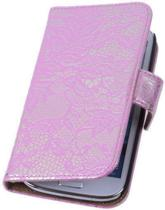 Lace Pink Samsung Galaxy S4 Book/Wallet Case/Cover Hoesje