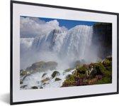 Foto in lijst - Rotsformaties voor de Niagarawatervallen fotolijst zwart met witte passe-partout klein 40x30 cm - Poster in lijst (Wanddecoratie woonkamer / slaapkamer)