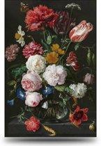 Schilderij Bloemen in Vaas - Rijksmuseum  - Canvas - extra groot - 100x150 cm