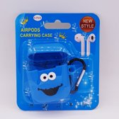 Cartoon Airpods Silicone Case Cover Hoesje voor Apple Airpods - Blue smile - met karabijn