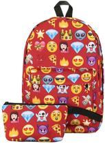 Emoji rugzak Incl etui - 37 cm hoog - Rood