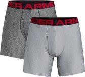 Under Armour Tech 6In 2 Pack Heren Boxershort - Mod Gray Light Heather - Maat S