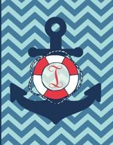 I: Monogram Initial I Notebook - 8.5'' x 11'' - 100 pages, college ruled - Nautical Chevron Anchor Journal
