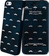 i-Paint cover Mustaches - blauw - voor iPhone 5S/SE