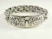 Zware gevlochten zilveren armband met kliksluiting - pols 19 cm