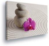 Zen Garden Stone Pile Sand Flower Canvas Print 100cm x 75cm