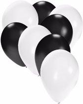 30x ballonnen wit en zwart