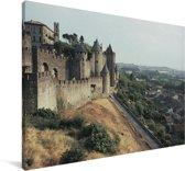Château Comtal met landschap Canvas 180x120 cm - Foto print op Canvas schilderij (Wanddecoratie woonkamer / slaapkamer) XXL / Groot formaat!