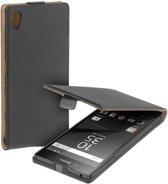 Zwart eco leather flipcase voor Sony Xperia Z5 hoesje