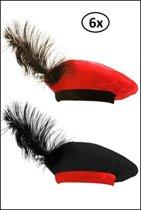 6x Piet barret zwart/rood en rood/zwart kids