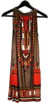 Ibiza boho jurk bruin/oranje