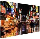 Seoul regenachtige nacht Canvas 60x40 cm - Foto print op Canvas schilderij (Wanddecoratie woonkamer / slaapkamer) / Steden Canvas Schilderijen
