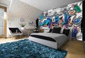 Fotobehang Papier Graffiti   Grijs, Blauw   368x254cm