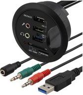 DELTACO VR-819 In-desk USB hub en card reader - 1x USB 3.1 Gen 1 / 2x USB 2.0 / 2x audio poort / SD / MicroSD - Voor montage in bureaus (60mm)