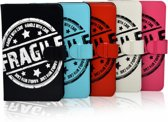 Hoes voor Lenco Smurftab 74, Cover met Fragile Print, wit , merk i12Cover