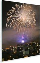 Vuurwerk in de lucht boven Santiago in Chili Plexiglas 120x180 cm - Foto print op Glas (Plexiglas wanddecoratie) XXL / Groot formaat!