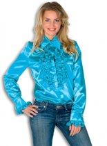 Rouches blouse blauw dames 42 (xl)
