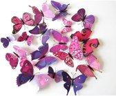 3D vlinders Paars / Muurdecoratie vlinders