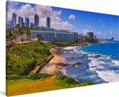 De kust van Salvador in Brazilië Canvas 80x40 cm - Foto print op Canvas schilderij (Wanddecoratie woonkamer / slaapkamer)