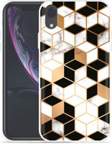 Apple iPhone Xr Hoesje Black-white-gold Marble
