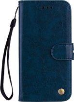 Mobigear Olie Wax Texture Luxe Wallet Book Case Blauw Huawei Mate 20 Pro