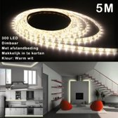 5M Ledstrip - Warm wit - Dimbaar - 300 LED - Met Adapter