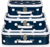 Koffertje navy polka dot 25 cm
