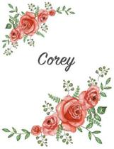 Corey: Personalized Composition Notebook - Vintage Floral Pattern (Red Rose Blooms). College Ruled (Lined) Journal for School