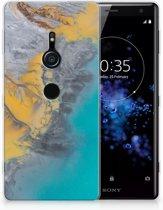 Sony Xperia XZ2 TPU Hoesje Design Marble Blue Gold