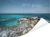 Het eiland Isla Mujeres met uitzicht op de oceaan Poster 80x60 cm - Foto print op Poster (wanddecoratie woonkamer / slaapkamer)