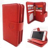 Samsung S9 Plus - Burned Red - Pasjeshouder - Telefoonhoesje met extra flap voor 9 pasjes