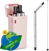 Herbruikbaar opvouwbaar rietje van RVS en siliconen  - milieuvriendelijk - duurzaam - inclusief schoonmaakborsteltje en opbergcase - roze