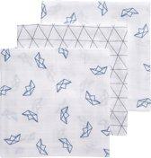 Meyco 3-pack hydrofiele luiers - Boat-Triangle-Boat - jeans/grijs/wit