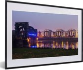 Foto in lijst - Architectuur in de Duitse stad Maagdenburg fotolijst zwart met witte passe-partout 60x40 cm - Poster in lijst (Wanddecoratie woonkamer / slaapkamer)