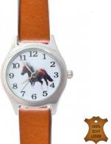 Horloge- Paard- Roestbruin- Lederenbandje- 32 mm- Gratis batterij- Gratis ketting