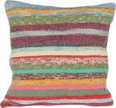 LWH Nepal Kussenhoes 40 x 40 cm - Decoratie - Sier - Vloer - Lounge kussen - Vierkant - Gerecycled - Fairtrade - Handgemaakt - Zonder Vulling - Uniek Design - Multicolor
