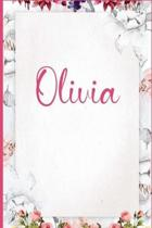 Olivia: Personalized Name Pink Floral Design Matte Soft Cover Notebook Journal to Write In / 6x9 / 120 Blank Lined Pages