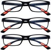 Amazotti Set van 3, Super-lichte Trendy Leesbril – zwart - sterkte +2.00