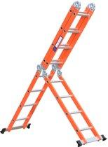 Multifunctionele Vouwladder - 4x4 sporten - Werkhoogte 4.70m - Oranje