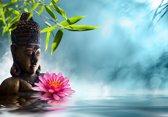 Papermoon Buddha in meditation Vlies Fotobehang 250x186cm 5-Banen