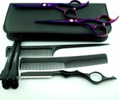 Rechtshandig Kappersschaar - Set Purple  + Styling razor - 6.0 inch