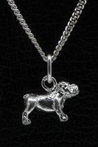 Zilveren Bulldog Engelse ketting hanger - klein
