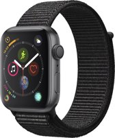Apple Watch Series 4 - 44 mm - spacegrijs met zwarte Nylon sportband