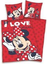 Minnie Mouse flanel dekbedovertrek Rood 1-persoons (140x200 cm + 1 sloop) (I love)
