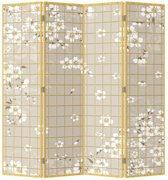 Orientique Kamerscherm 4 Panelen Bloemetjes Canvas Room Divider Scheidingswand