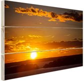 Zonsondergang met wolken Hout 60x40 cm - Foto print op Hout (Wanddecoratie)