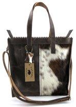 Koeienhuid shopper met lange hengsel bruin Van Fiel/ Lina leather
